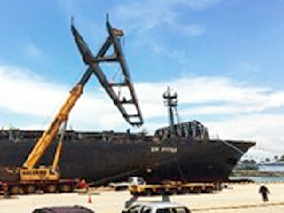 Major logistics for deck crane repairs